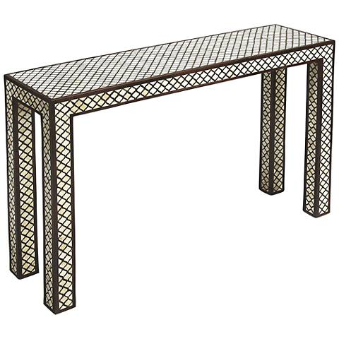Butler Basan Rectangular Wood and Bone Inlay Console Table
