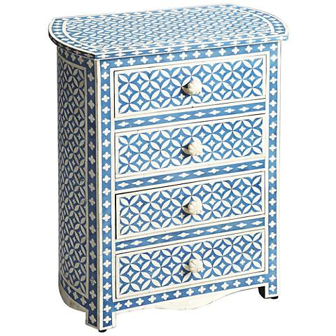 Butler Amelia Blue Bone Inlay 4-Drawer Accent Table