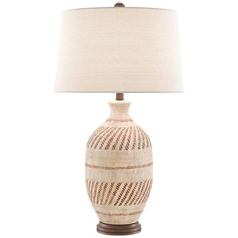Faiyum Tan and Brown Earthen Basket Weave Table Lamp
