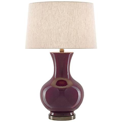Currey and Company Aubergene Plum Ceramic Table Lamp