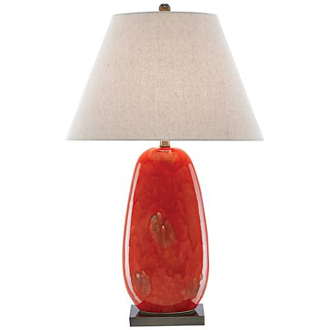 Currey and Company Carnelia Rustic Red Ceramic Table Lamp