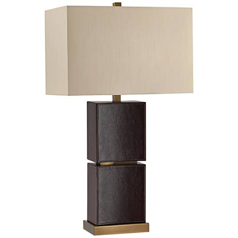 Currey and Company Pelle Dark Brown Leather Table Lamp