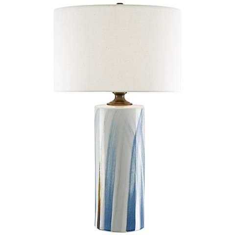 Currey and Company Tao White and Blue Porcelain Table Lamp