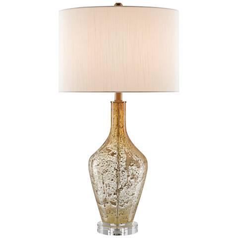 Habib Champagne Speckled Glass Modern Twist Glass Table Lamp