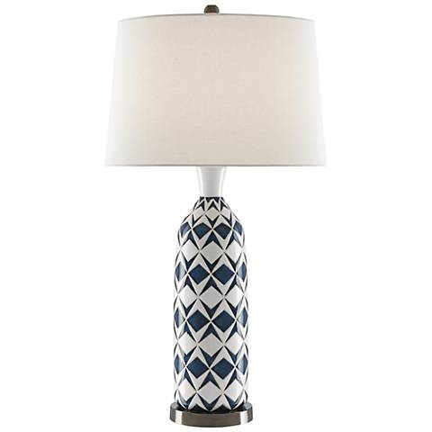 Morning White and Blue Painted Graphic Ceramic Table Lamp