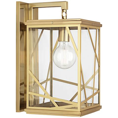 "Michael Berman Bond 17"" High Modern Brass Outdoor Wall Light"