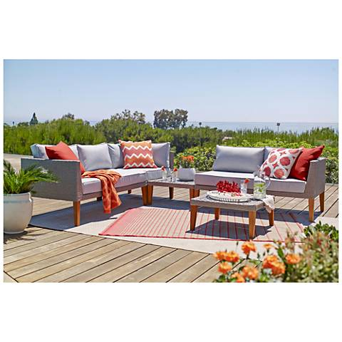 Alain Gray Wicker 5-Piece Sectional Outdoor Conversation Set