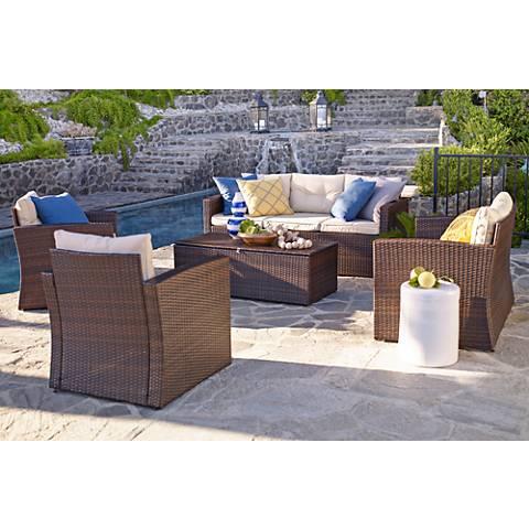 Cascaden Brown Wicker 5-Piece 7-Seat Outdoor Set with Storage