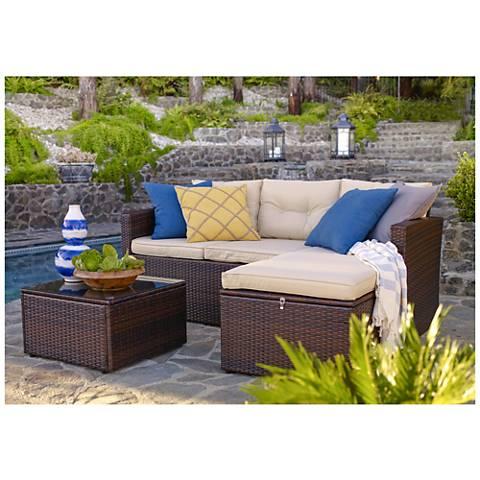 Cascaden Dark Brown Wicker 3-Piece Seating Sofa Set with Storage