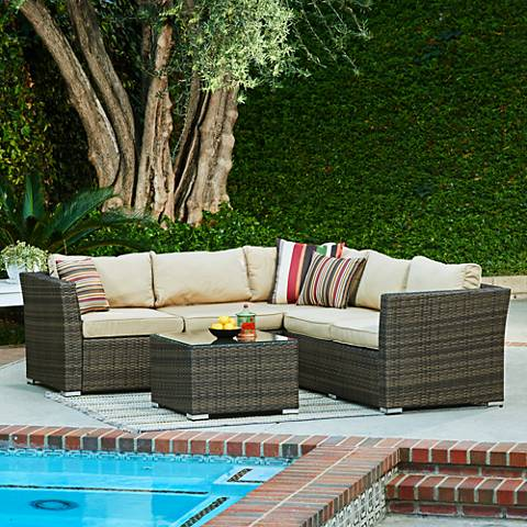 Westbrook Brown Wicker 4-Piece Outdoor Seating Set with Storage