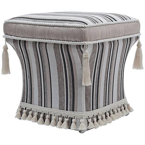Jennifer Taylor Savannah Blue-Gray Stripe Square Pedestal Ottoman