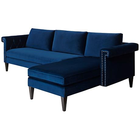 Jennifer taylor nathaniel blue velvet 2 piece chaise for Blue sectional with chaise