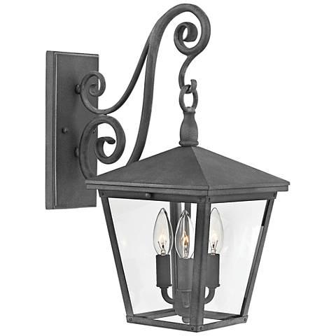 """Trellis 19 3/4"""" High Aged Zinc 3-Light Outdoor Wall Light"""