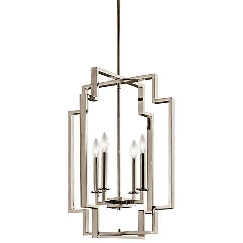 "Kichler Downtown Deco 18"" Wide Polished Nickel Foyer Pendant"