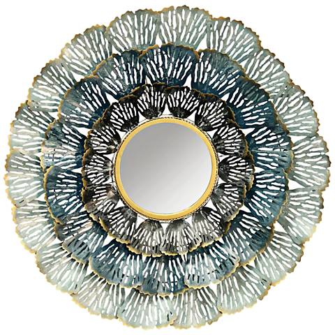 "Three Metal Coral in Blue 31 1/2"" Round Wall Mirror"