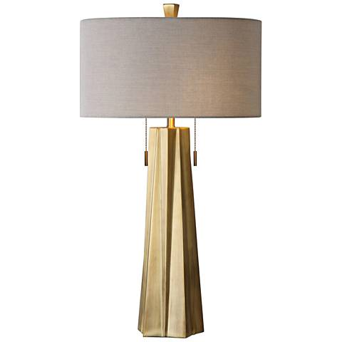 Uttermost Maris Plated Antiqued Brass Metal Table Lamp