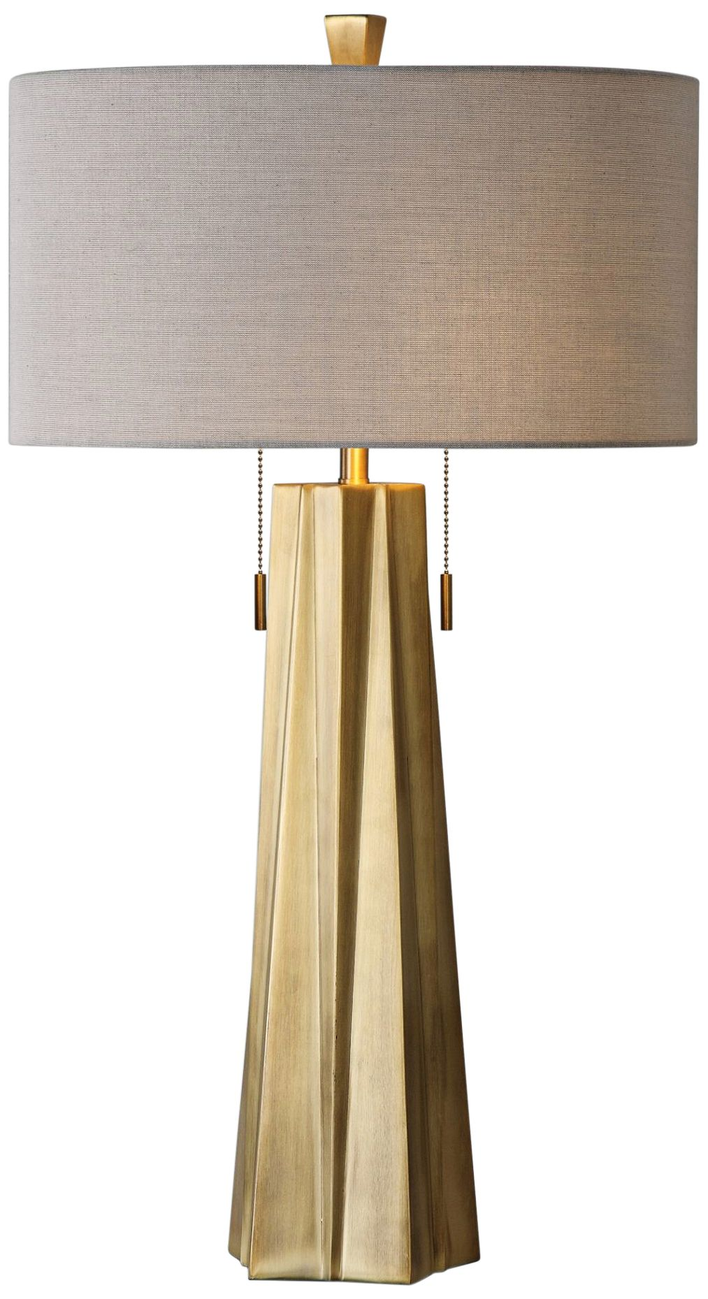 Elegant Uttermost Maris Plated Antiqued Brass Metal Table Lamp