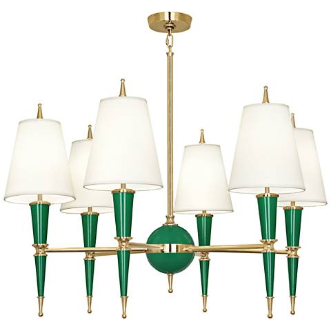 "Versailles 36 3/4""W Fondine Shade Emerald Lacquer Chandelier"
