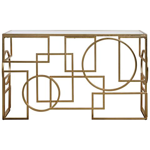 Metria Clear Glass Top and Antiqued Gold Leaf Console Table
