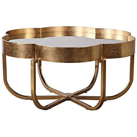 Uttermost Cydney Gold Leaf and Clear Mirror Coffee Table