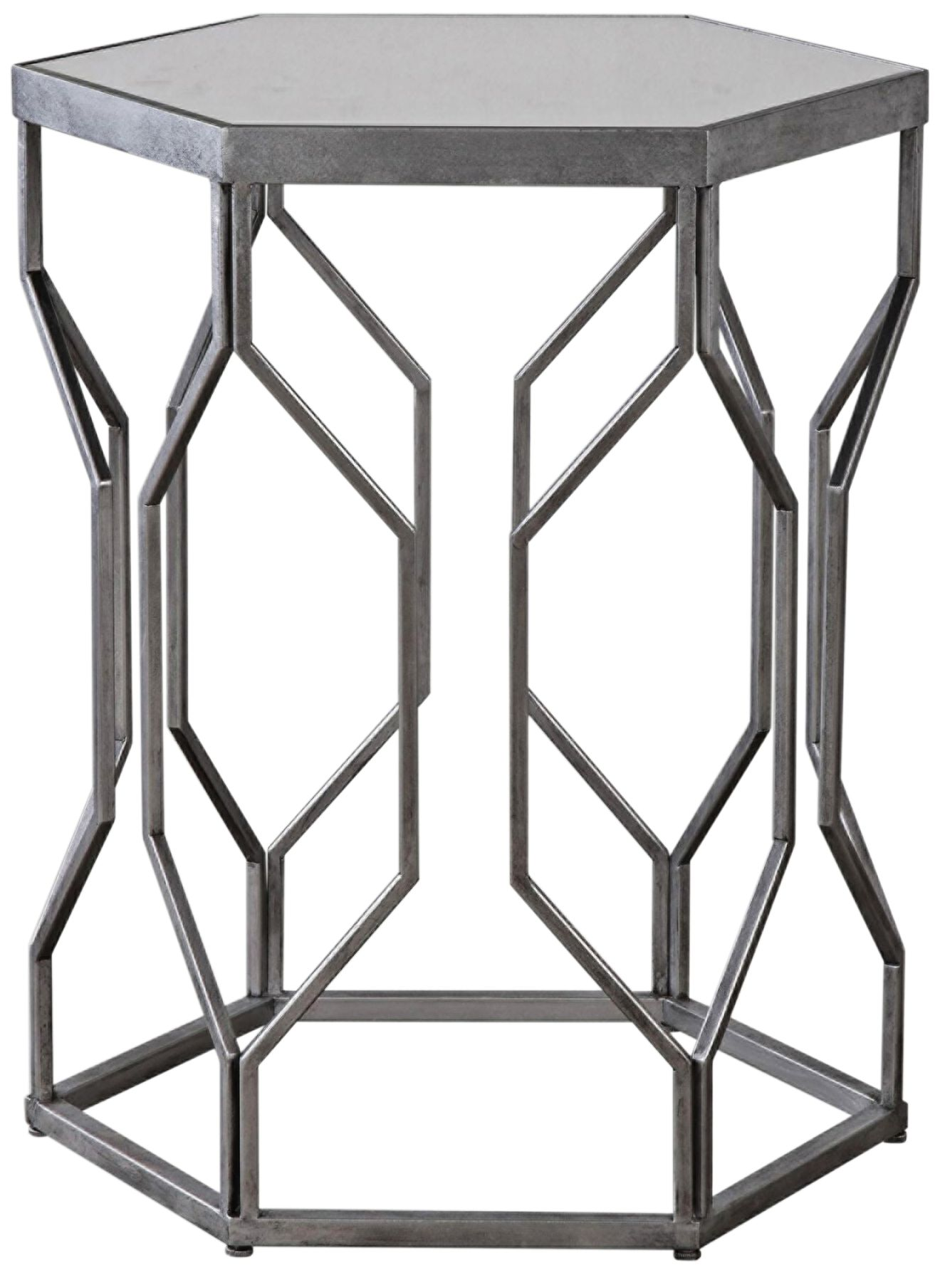 Uttermost Stellan Silver Leaf And Mirror Top Accent Table