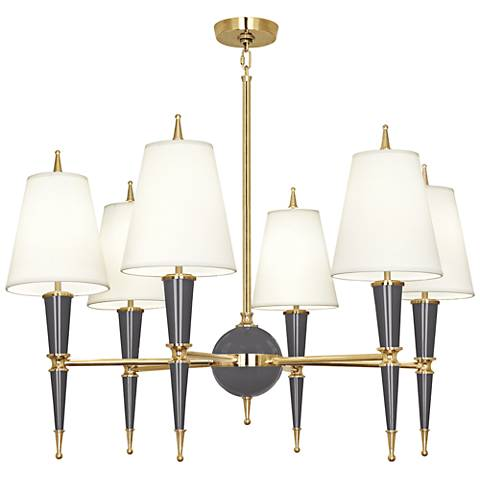 "Versailles 36 3/4""W Ash Lacquer and Fondine Shade Chandelier"