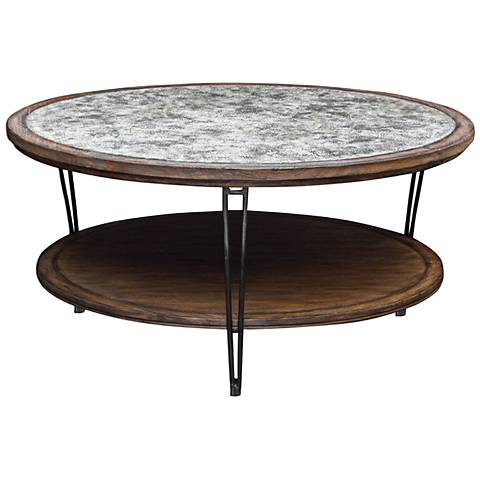 Uttermost Saskia Ivory and Gray Top Wood Coffee Table