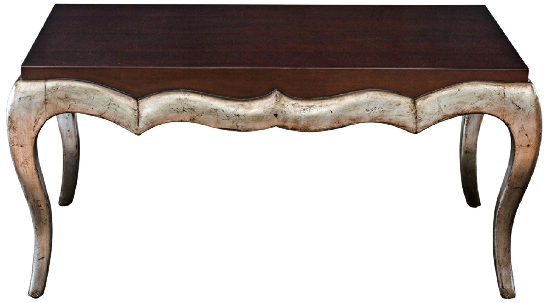 Verena Dark Mahogany Stained Top Silver Leaf Coffee Table