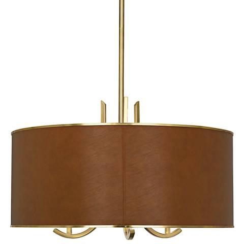 """Francesco 25""""W Antique Brass and Camel Shade Pendant Light"""
