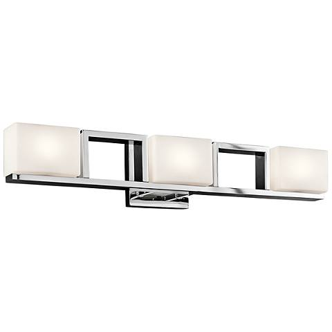 "Kichler Keo 28"" Wide Chrome and Glass 3-Light Bath Light"