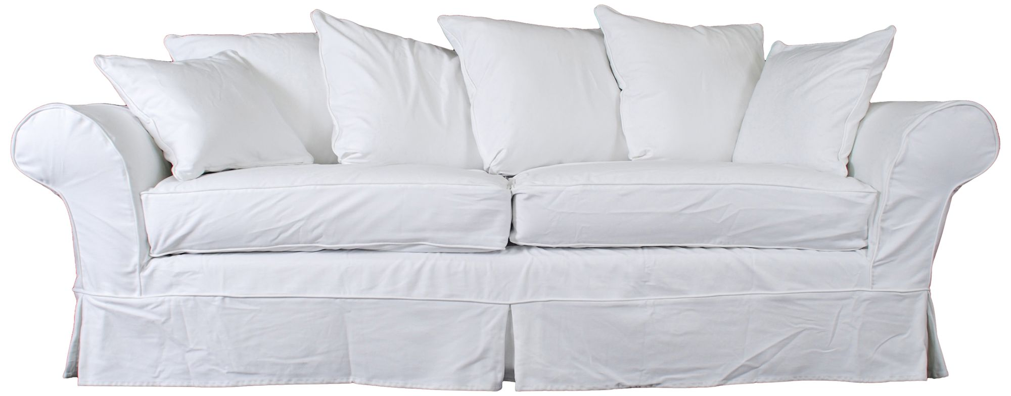 Elizabeth White Fabric Slipcover Sofa