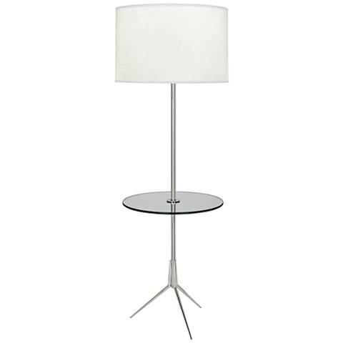 Robert Abbey Martin Nickel Floor Lamp with Glass Tray