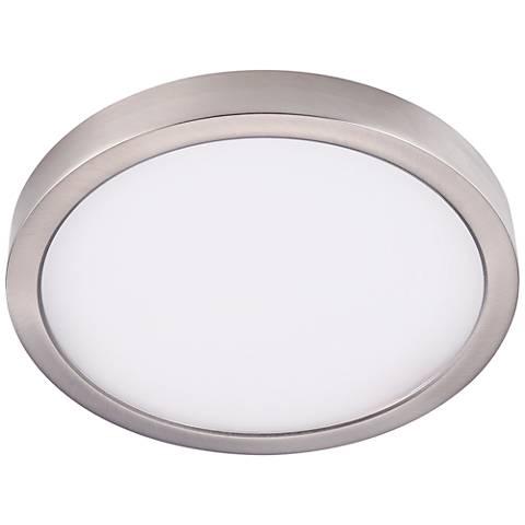 "Disk 11"" Wide Nickel Round LED Indoor-Outdoor Ceiling Light"