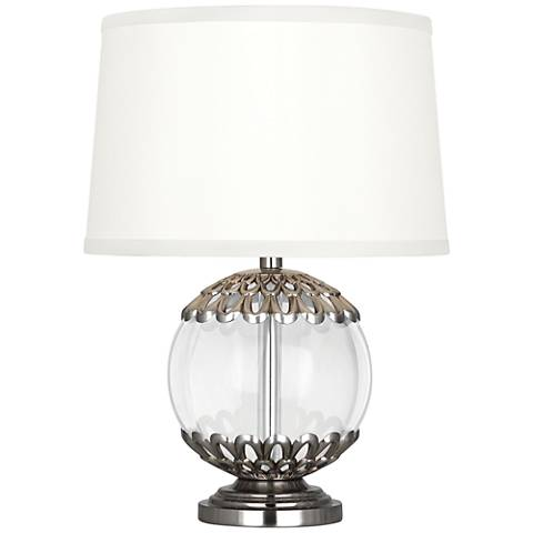 "Polly Antique Silver Orb 14"" High Accent Lamp"
