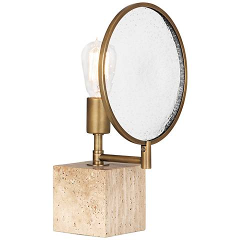 Robert Abbey Fineas Aged Brass and Travertine Cube Accent Lamp