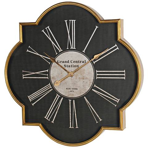 "Ritter 27 1/2"" Wide Black and Gold Iron Wall Clock"