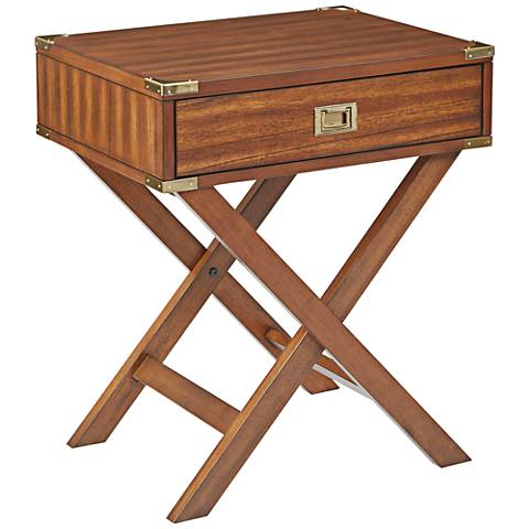 Wellington Toasted Wheat Wood Side Table with Storage Drawer