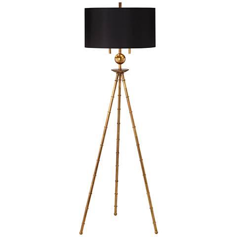 Bambusa Antique Gold Leaf Tripod Floor Lamp