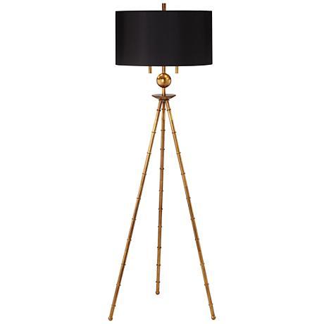 bambusa antique gold leaf tripod floor lamp 18w11 lamps plus. Black Bedroom Furniture Sets. Home Design Ideas