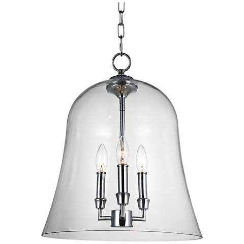 """Feiss Lawler 14 3/4"""" Wide Clear Glass Bell 3-Light Pendant"""