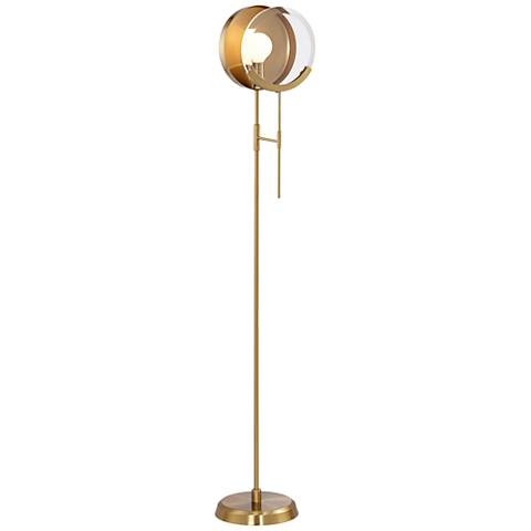 Maddox Brushed Antique Brass Magnifying Floor Lamp