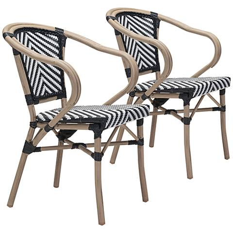 Zuo Paris Black and White Outdoor Dining Armchair Set of 2