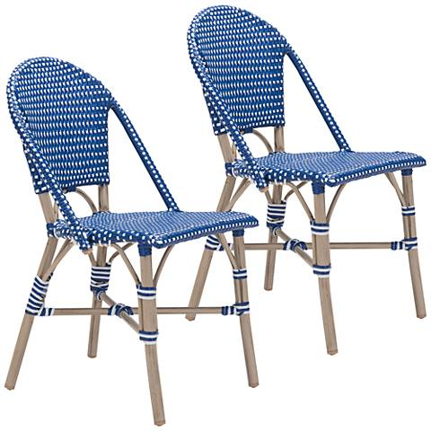 Zuo Paris Navy Blue and White Outdoor Dining Chair Set of 2