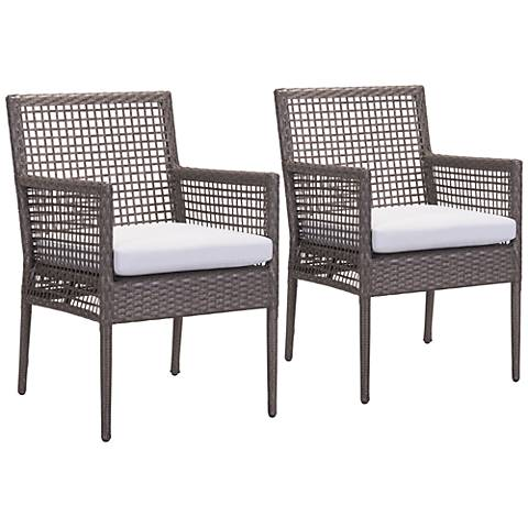 Zuo Coronado Brown and Gray Outdoor Dining Chair Set of 2