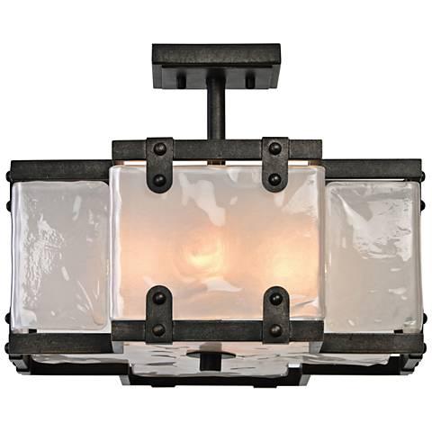 "Uttermost Brattleboro 16 1/4""W Black and Glass Celling Light"