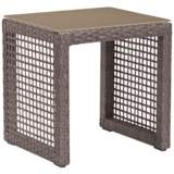 Zuo Coronado Brown and Glass Top Outdoor End Table
