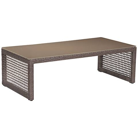 Zuo Coronado Brown and Glass Top Outdoor Coffee Table