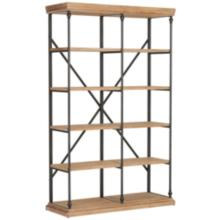 La Salle Metal and Wood 5-Shelf Bookcase