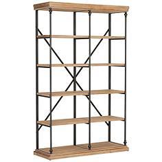 La Salle Metal and Wood 5-Shelf Bookcase
