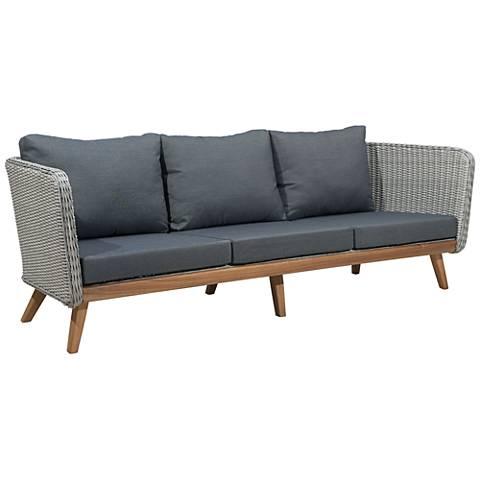 Zuo Grace Bay Gray and Natural Wood Outdoor Sofa